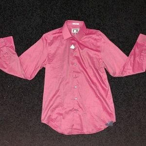 Pink fitted button down